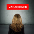 Sign girl back with the holidays and destinations — Stock Photo