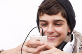 Young chatting with phone — Stock Photo