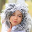 Beautiful grey eyed girl in the grey wig — Stock Photo
