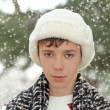 Handsome teen boy in white fur hat — Stock Photo