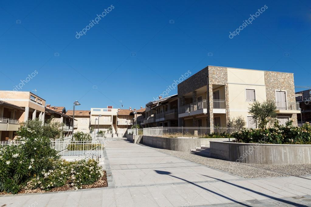 View on the yard of new residence with new houses — Stock Photo #14815737