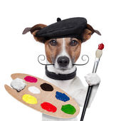 Painter artist dog — Stock Photo