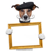 Painter artist frame holding dog — Stock Photo