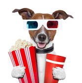 3d glasses movie popcorn dog — Stock Photo