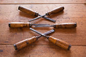 Old wooden chisels — Stock Photo