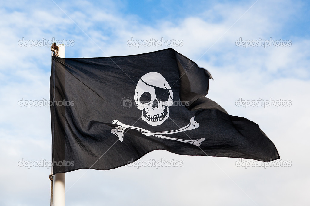 Pirate Flag Waving Waving Pirate Flag Isolated on