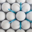Stock Photo: Golf balls and tees