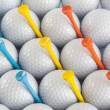 Golf balls and tees - Stock Photo