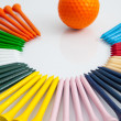The colorful wooden golf tees — Stock Photo #25746961