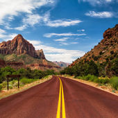 Typical red road in Zion Canyon — Stock Photo