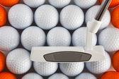 Golf atıcı ve topları — Stok fotoğraf