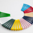 The colorful wooden golf tees — Stock Photo