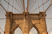 Detail of historic Brooklyn Bridge in New York — Stock Photo