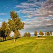 Lato pole golfowe na zachodzie słońca — Zdjęcie stockowe