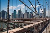 детали исторического бруклинский мост в нью-йорке — Стоковое фото