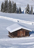 Typical wooden challet in the Dolomites — Stock Photo