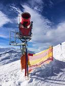 Red Snow-Machine in Austria Alps — Stok fotoğraf