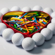 Heart of golf balls and tees — Stock Photo #39277833