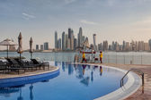 At the pool opposite Business district in Dubai — Stock Photo