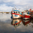 Typical fishing boats in the Scarborough harbor — Stock Photo
