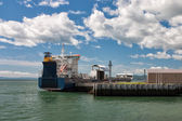 Cargo ship in port in La Malbaie, — Stock Photo