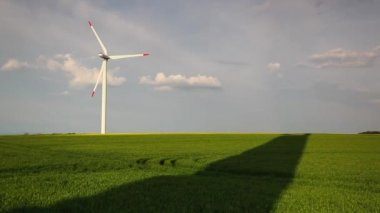 Rotating wind farm and shadows of wind farm — Stock Video