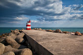 Lighthouse on the Tavira Island before storm, Algarve,Portugal   — Stock Photo