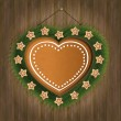 Stock Vector: Blackboard gingerbread heart wood tree