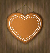 Blackboard gingerbread heart wood — Stock Vector