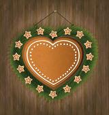 Blackboard gingerbread heart wood tree — Stock Vector
