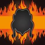 Raster blackboard grill menu card chicken fire board — Stock Photo