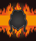 光栅黑板烧烤菜单卡鸡防火板 — 图库照片