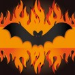 Halloween bat fire — Stock Vector