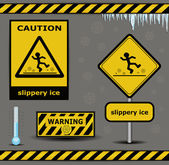 Sign caution slippery ice warning collection — Stock Vector