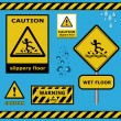 Raster sign caution slippery floor wet flor warning collection — Stok fotoğraf