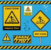 Raster sign caution slippery floor wet flor warning collection — Stock Photo