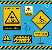 Vector sign caution slippery floor wet flor warning collection — Stock Vector