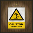 Blackboard sign caution slippery floor wood — Stock Vector