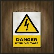 Stock Vector: Blackboard sign danger high voltage wood