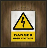 Blackboard sign danger high voltage wood — Stock Vector