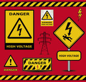 Sign danger high voltage warning collection — Stock Vector