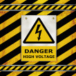 Sign caution blackboard danger high voltage - Stock Vector