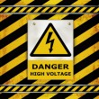 Stock Vector: Sign caution blackboard danger high voltage