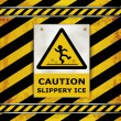 Sign caution blackboard caution slippery ice — Stock Vector