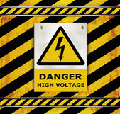 Sign caution blackboard danger high voltage — Vetorial Stock