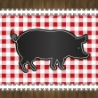 Raster blackboard menu tablecloth lace pig - Stock Photo