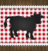 Raster blackboard menu tablecloth lace cow bull — Stock Photo