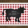 Vector blackboard menu tablecloth lace cow bull - Stock Vector
