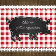 Stock Vector: Vector blackboard menu tablecloth lace pig