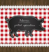 Vector blackboard menu tablecloth lace pig — Stock Vector